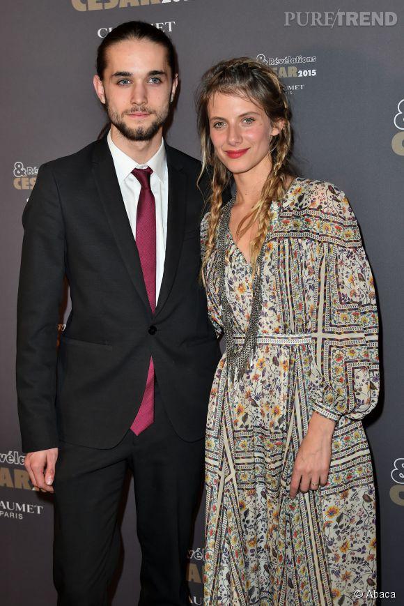 """Mélanie Laurent et Romain Depret très chic pour la soirée """"Révélations César 2015""""."""