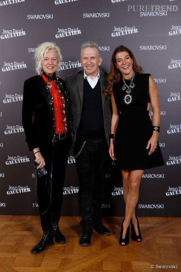 Ellen von Unwerth, Jean Paul Gaultier et Fiona Swarovski au cocktail Kaputt par Jean Paul Gaultier et Swarovski le 28 janvier 2015 à Paris.