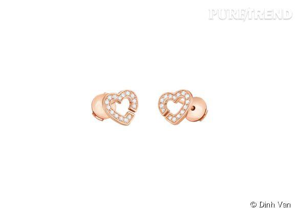 dinh van boucles d 39 oreilles double coeurs r8 en or rose et diamants 1 150. Black Bedroom Furniture Sets. Home Design Ideas