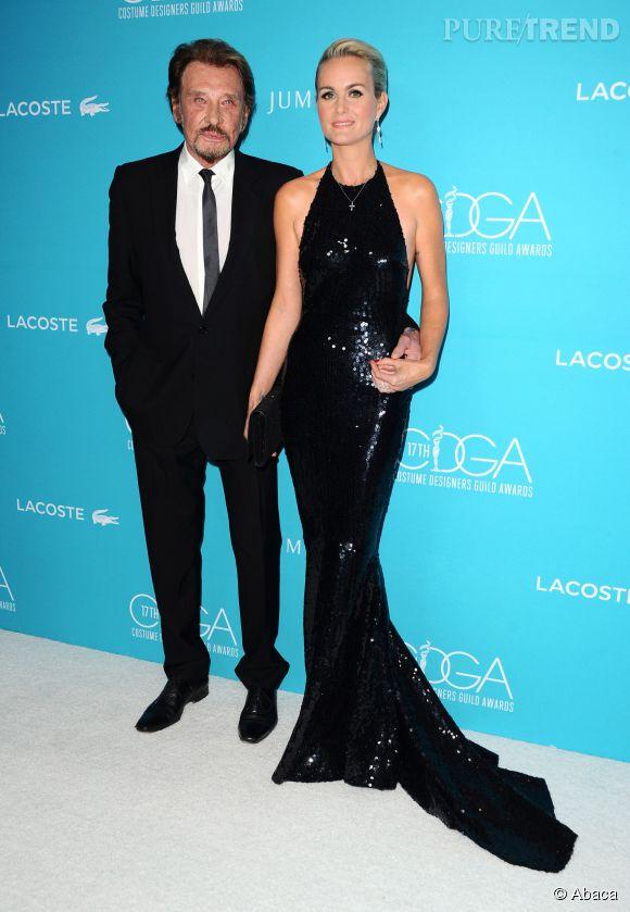 Laeticia Hallyday et Johnny étaient  au Costume Designers Guild Awards à Beverly Hills ce 17 février 2015.