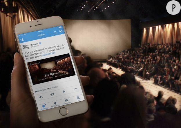Burberry Prorsum dévoile un nouveau partenariat avec Twitter pour son défilé du Printemps-Été 2015.