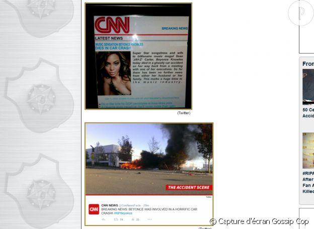 Le site Gossip Cop a gardé copie des news publiées par CNN annonçant la mort de Beyoncé.