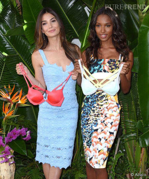 Lily Aldridge et Jasmine Tookes à Los Angeles le 24 février 2015 pour dévoiler les nouveautés Victoria's Secret de l'été 2015.