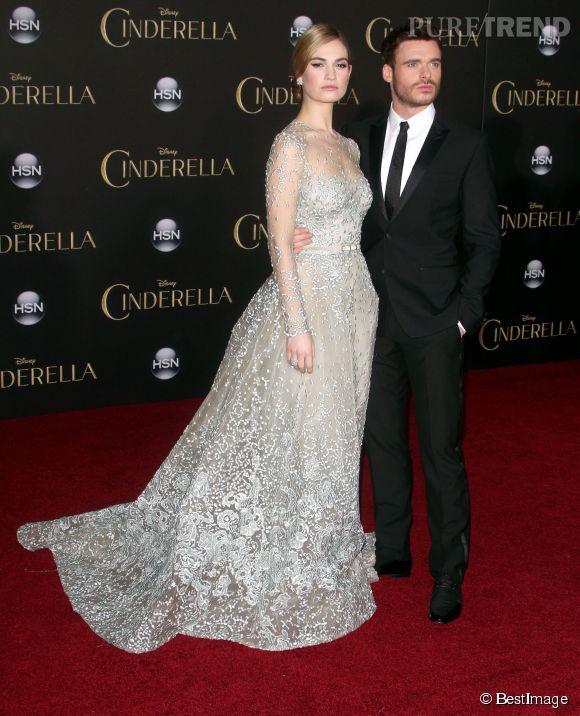 Lily James et Robert Madden, Cendrillon et son prince charmant.