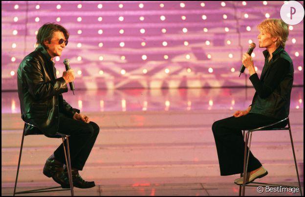 Jacques Dutronc et Françoise Hardy sur le plateau de l'émission de Michel Drucker en 2000.