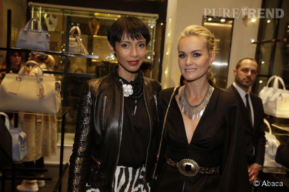 Laeticia Hallyday et Sonia Rolland lors de la soirée Armani à Paris le 5 mars 2015.