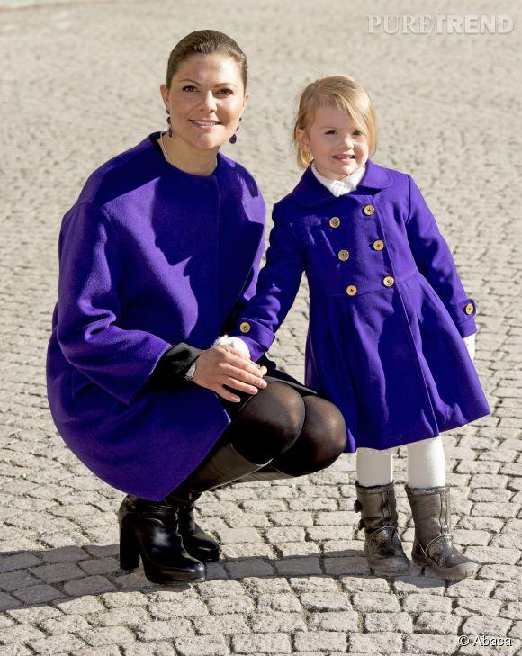 Victoria de Suède et Estelle, craquantes en violet.