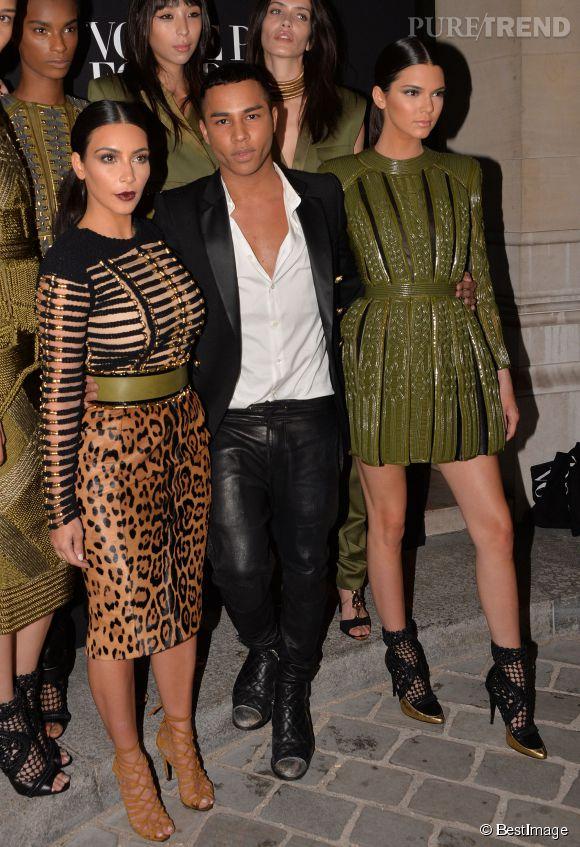 0c47bcaea23 Olivier Rousteing entouré de Kim Kardashian et de Kendall Jenner  lors du Gala