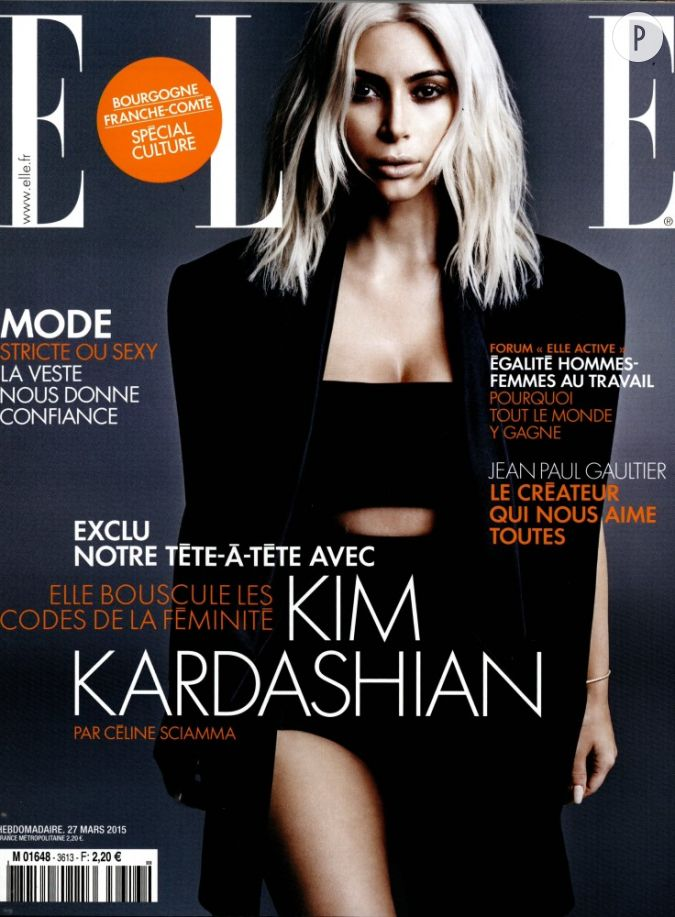 kim kardashian chouchoute d 39 olivier rousteing en couverture du magazine elle de cette semaine. Black Bedroom Furniture Sets. Home Design Ideas