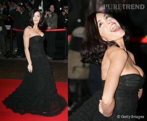 Jenifer, sexy en robe noire décolletée à Cannes en janvier 2006.