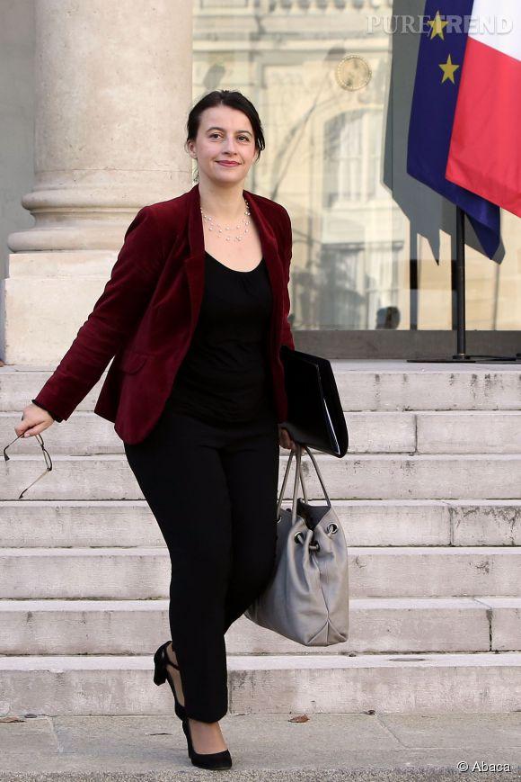 Cécile Duflot en blouson en velours bordeaux