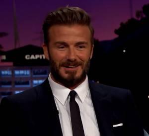 """David Beckham raconte une anecdote concernant son fils Brooklyn sur le plateau de l'émission """"The Late Late Show with James Corden""""."""