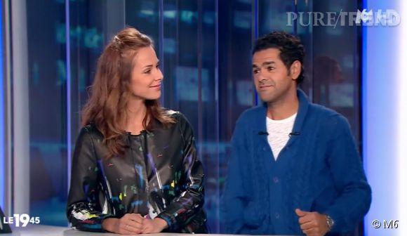 Mélissa Theuriau et Jamel Debbouze sur le plateau du 19:45 sur M6, ce mercredi 1er avril 2015.