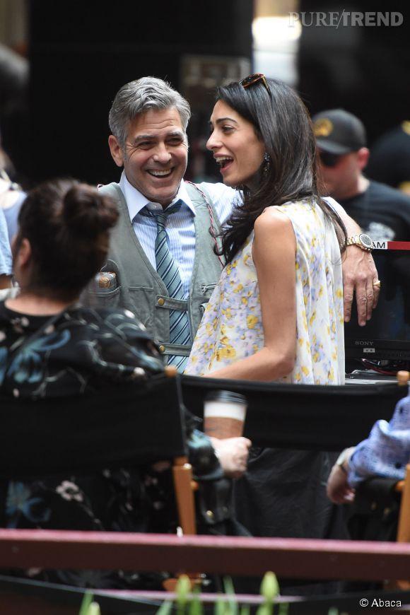 """Amal Clooney rend visite à George sur le tournage de """"Money Monster"""" à New York"""