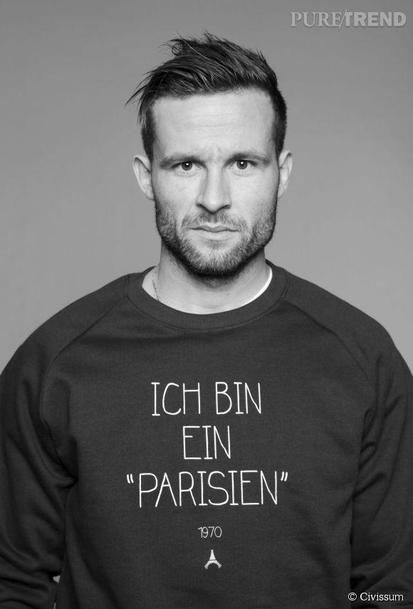 """Yohan Cabaye a adopté le sweat noir """"Ich bin ein parisien"""" de Civissum pour le PSG."""