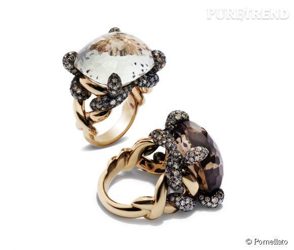 """Pomellato    Bagues """"Tango"""" en or rose bruni, topaze blanche et diamants brown et en or rose bruni, quartz fumé et diamants brown.   Prix sur demande."""