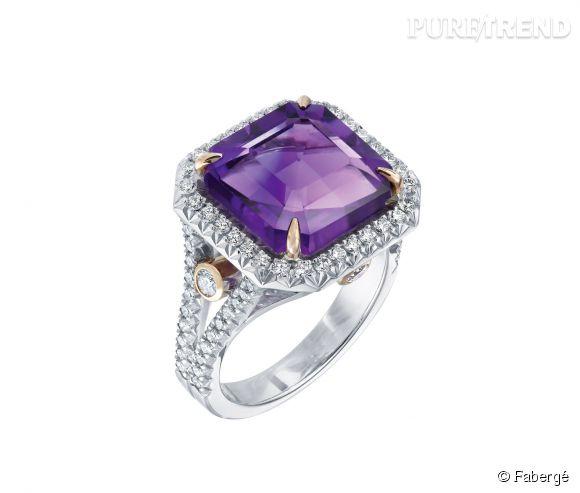 """Fabergé    Bague """"Dévotion"""" en or blanc et rouge, diamants blancs et améthyste.   Prix sur demande."""