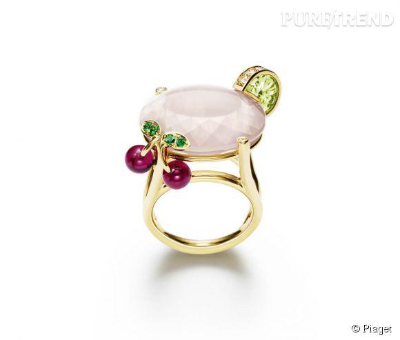 """Piaget    Bague """"Pink Lady"""" en or jaune, quartz rose, péridot sculpté, billes de rubellite, diamants blancs et émeraudes.   Prix sur demande."""