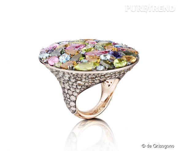 """de Grisogono    Bague """"Melody Of Colours"""" en or rose, tourmalines roses, peridots, topazes bleues, citrines, tourmalines vertes, iolites et diamants bruns.   Prix sur demande."""