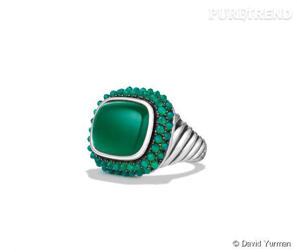 """David Yurman    Bague """"Osetra"""" en argent et argent noirci et onyx vert.   Prix sur demande."""