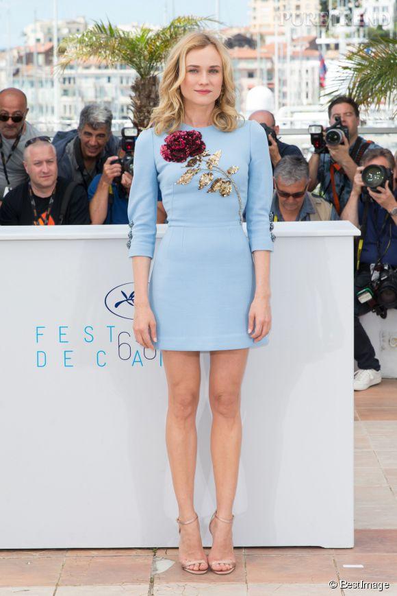 """Diane Kruger, la it girl de Cannes 2015 perchée sur ses """"Minny"""" de Jimmy Choo."""