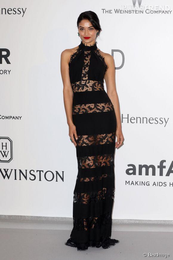 Le top australien Shanina Shaik a elle choisi le noir mais transparent avec une robe Philipp Plein à l'amfAR.