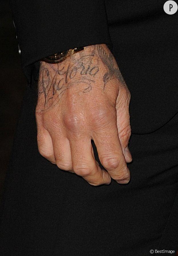 David Beckham et son tatouage Victoria en 2013.