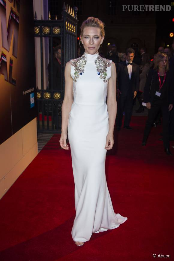 Cate Blanchett dans sa robe immaculée, dimanche au BFI London Film Festival.