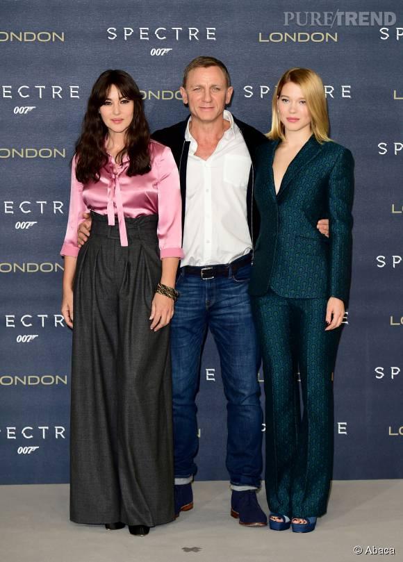 """Monica Bellucci, Léa Seydoux et Daniel Craig, jeudi à Londres pour la promotion de """"Spectre"""", en salle le 11 novembre."""
