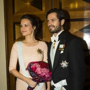 La princesse Sofia et le prince Carl Philip sur leur 31 pour une réception organisée par la Royal Swedish Academy of Engineering Sciences à Stockholm le 23 octobre 2015.