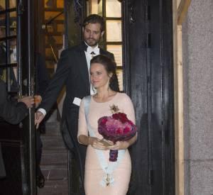 La princesse Sofia enceinte lors d'une réception organisée par la Royal Swedish Academy of Engineering Sciences à Stockholm le 23 octobre 2015.