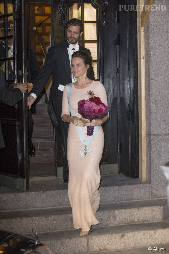 La princesse Sofia enceinte lors d'une réception organisée par la Royal Swedish Academy of Engineering Sciences à Stockholm le 23 octobre 2015.