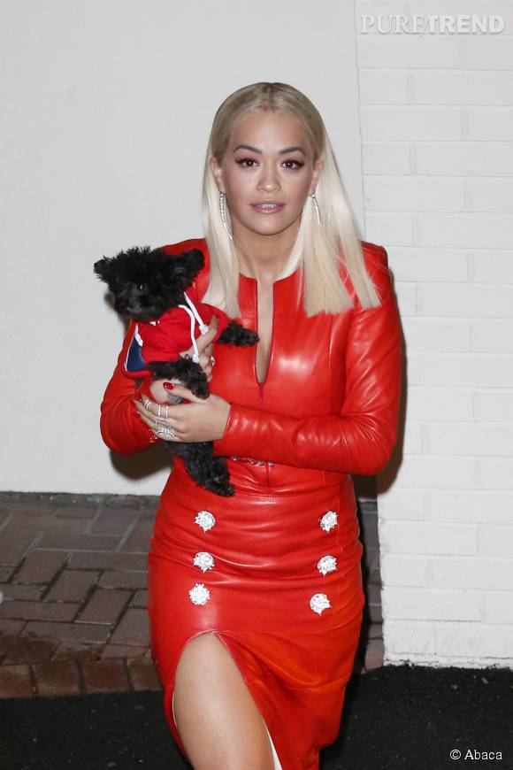 Rita Ora très sexy dans cette robe en cuir échancrée.