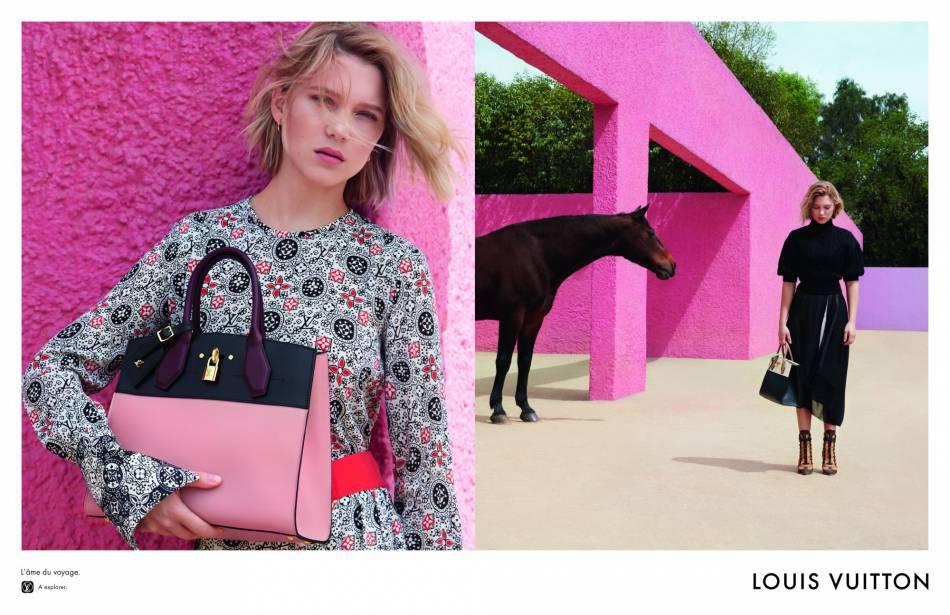 Le sac bicolore Steamer se modernise en 2016 dans les bras de Léa Seydoux.
