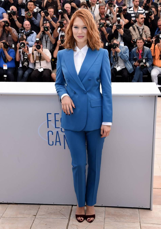 """Léa Seydoux lors du photocall de """"Saint Laurent"""" au Festival de Cannes 2014."""