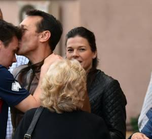 Louis Ducruet, le fils de la princesse Stéphanie de Monaco, encouragé par son père, Daniel Ducruet, sa compagne Kelly et sa grand-mère Maguy Ducruet, lors d'un match de foot caritatif.