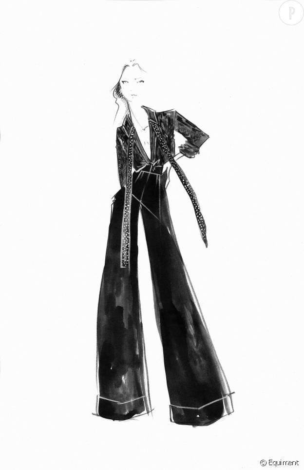 Dans cette collection, on retrouve le style rock et androgyne de Kate Moss.