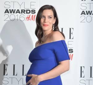 L'actrice pose, alors enceinte de son deuxième enfant, en février 2015.