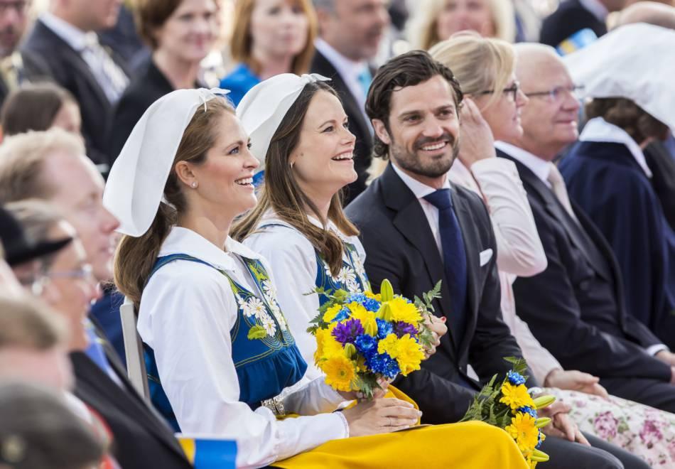 La princesse Madeleine, la princesse Sofia et le prince Carl Philip à la fête nationale suédoise à Stockholm le 6 juin 2016.