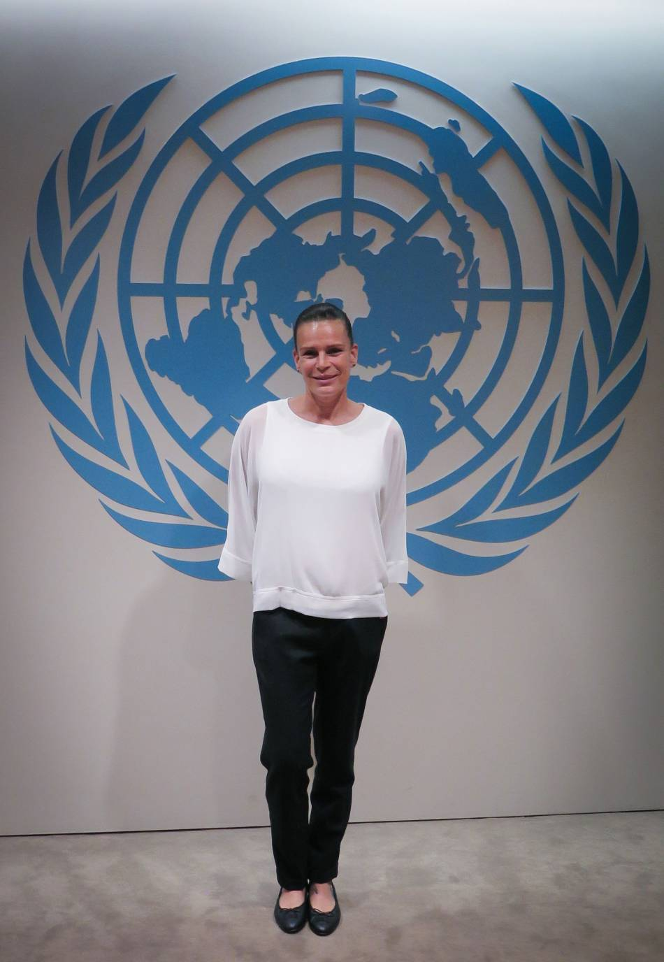 Stéphanie de Monaco, princesse sans chichi à l'ONU pour défendre sa cause avec son association Fight Aids Monaco.
