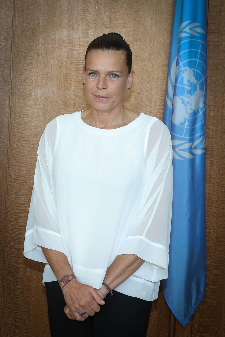 La princesse Stéphanie de Monaco était à l'ONU ce 8 juin 2016 pour parler des stratégies à appliquer pour éradiquer le sida à l'horizon 2030.
