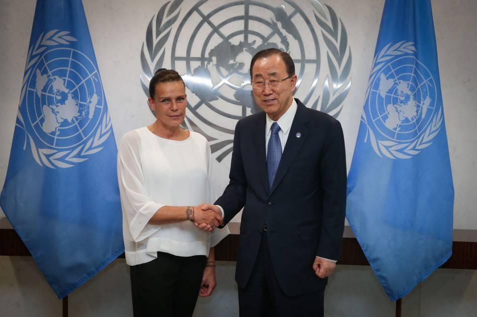 La princesse Stéphanie de Monaco et Ban Ki-Moon à l'Organisation des Nations Unies (New York) le 8 juin 2016.