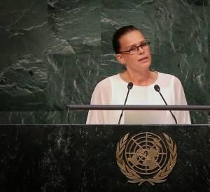 La princesse de Monaco a pris la parole pour rappeler la position de la Principauté de Monaco dans la lutte contre le sida.