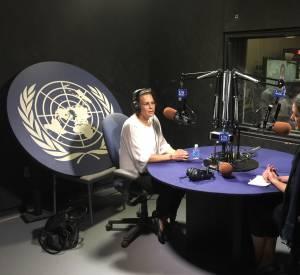 A la fin de sa journée à l'ONU, Stéphanie de Monaco a également donné un entretien en français et en anglais sur son engagement dans la lutte contre le VIH au micro de la radio des Nations-Unies.