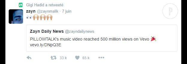 Gigi Hadid a retweeté un post de Zayn Malik.