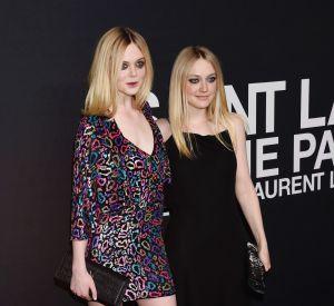 Elle Fanning et sa soeur Dakota, dans un look rock et feminine.