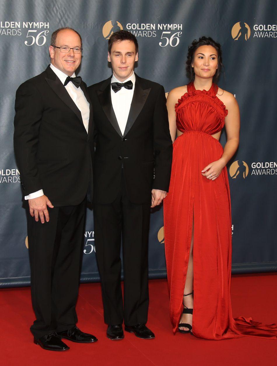Le prince Albert II de Monaco, Louis Ducruet et sa compagne Marie à la soirée de clôture du 56e festival de télévision de Monte-Carlo, le 16 Juin 2016.