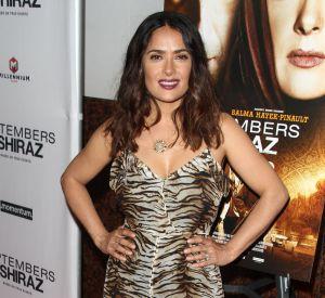 "Salma Hayek en robe tigrée, mardi 21 juin à la première de ""Septembers of Shiraz"", à L.A."