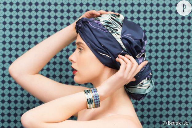 Le foulard porté en turban, Bangle Up, 149€.