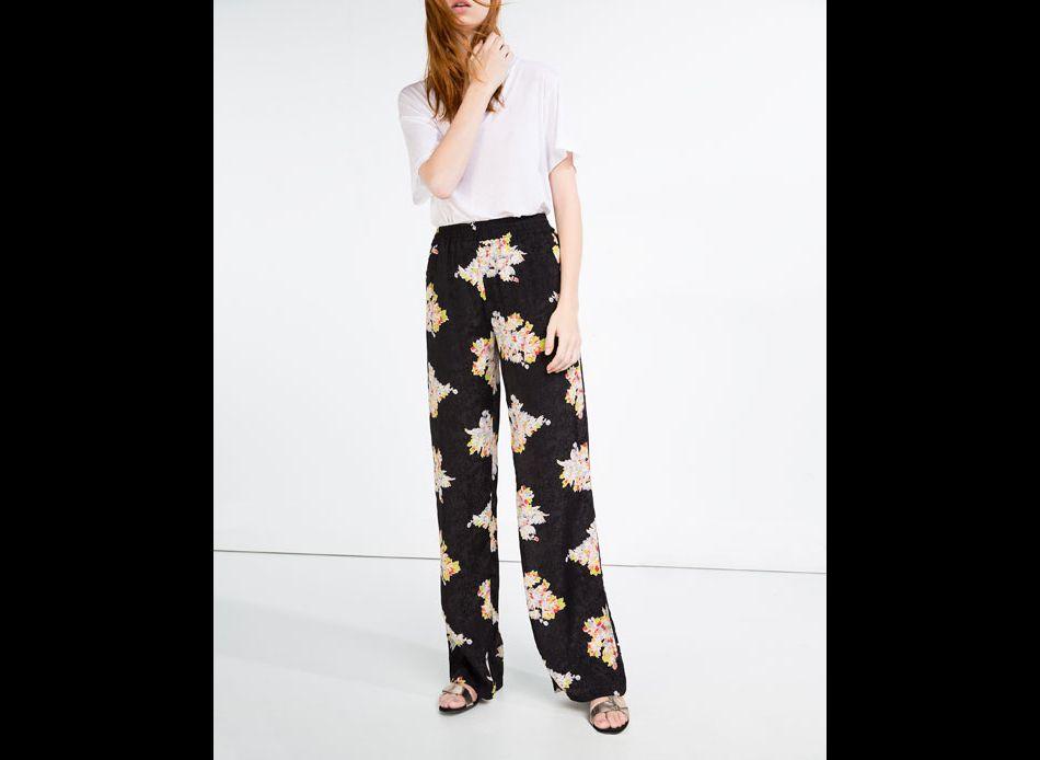 Pantalon fleurs, Zara, 49,95\u20ac.